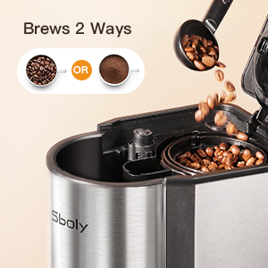 sboly coffee maker brew options